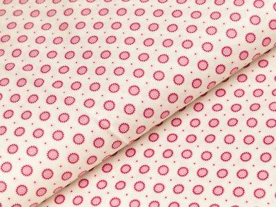 Popeline Baumwolle - kleine Sonnen und Blumen - creme/pink