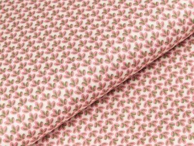 Popeline Baumwolle - Grasbüschel - creme/rosa