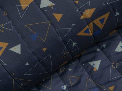 Stepper Jackenstoff - verschiedene Dreiecke - dunkles blau