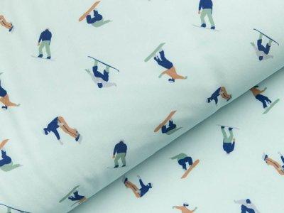 Jackenstoff Softshell Digitaldruck - verschiedene Skifahrer - blau