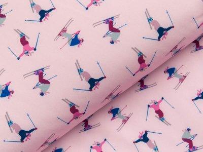 Jackenstoff Softshell Digitaldruck - verschiedene Skifahrer - rosa