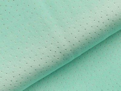 Nicki-Fleece mit Lackprägung - kleine unregelmäßige Punkte - mint