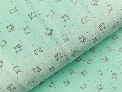Nicki-Fleece mit Lackprägung - kleine unregelmäßige Punkte und Hundegesichter - mint