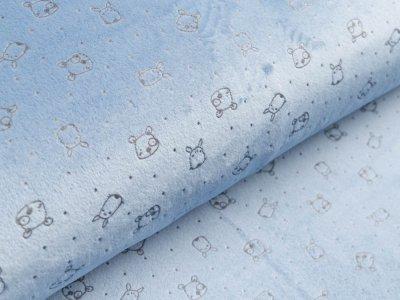 Nicki-Fleece mit Lackprägung - kleine unregelmäßige Punkte und Hundegesichter - blau