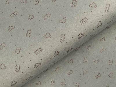 Nicki-Fleece mit Lackprägung - kleine unregelmäßige Punkte und Katzengesichter - grau