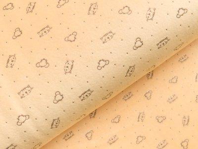 Nicki-Fleece mit Lackprägung - kleine unregelmäßige Punkte und Katzengesichter - gelb