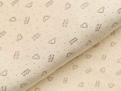 Nicki-Fleece mit Lackprägung - kleine unregelmäßige Punkte und Katzengesichter - helles gelb