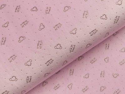 Nicki-Fleece mit Lackprägung - kleine unregelmäßige Punkte und Katzengesichter - helles lila