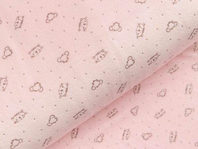 Nicki-Fleece mit Lackprägung - kleine unregelmäßige Punkte und Katzengesichter - rosa