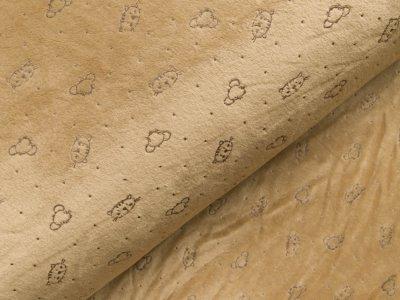 Nicki-Fleece mit Lackprägung - kleine unregelmäßige Punkte und Katzengesichter - helles braun