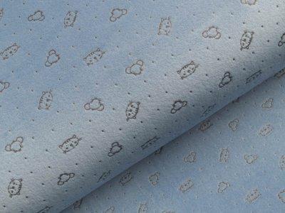 Nicki-Fleece mit Lackprägung - kleine unregelmäßige Punkte und Katzengesichter - blau