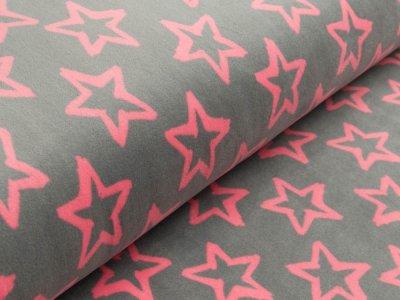 Nicki-Fleece mit Neonprint - Sterne - grau/pink