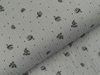 Musselin Double Gauze - verschiedene Blumen und kleine Punkte - grau