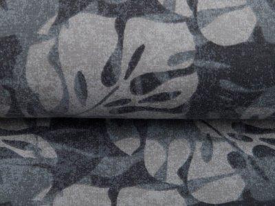 Leicht angerauter Sweat - Blätter auf Camouflage - grau