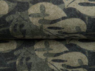 Leicht angerauter Sweat - Blätter auf Camouflage - olive