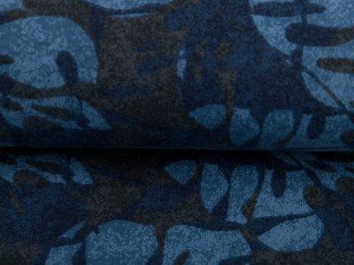 Leicht angerauter Sweat - Blätter auf Camouflage - blau