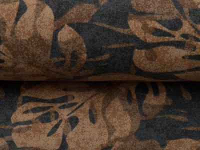 Leicht angerauter Sweat - Blätter auf Camouflage - sand