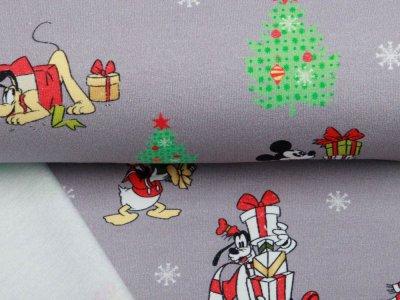 Sweat French Terry Disney Mickey Mouse Christmas Collection - Pluto und Freunde feiern Weihnachten - grau