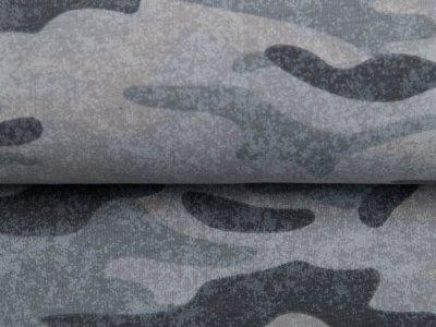 Leicht angerauter Sweat - Camouflage - grau