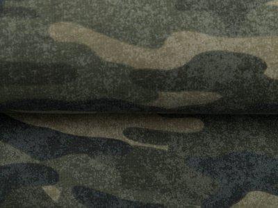 Leicht angerauter Sweat - Camouflage - olive