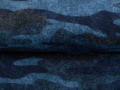 Leicht angerauter Sweat - Camouflage - blau