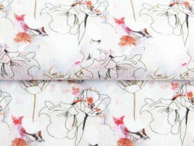 Musselin Baumwolle Double Gauze Digitaldruck - Blumen auf Wasserfarben -pastellgrau