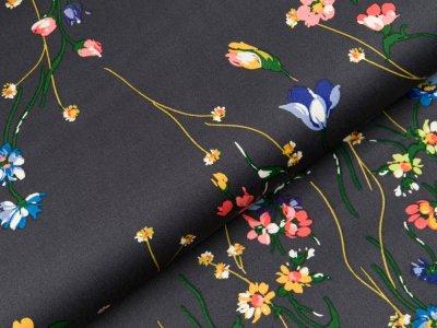 Bedruckter Satin Milliblu´s - Blumenzweige - anthrazit