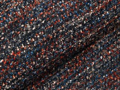 Bouclé Mantelstoff Milliblu´s - gewebte Streifen - dunkles blau