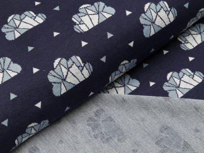 Jacquard-Jersey Little Darling - Wolken und Dreiecke - dunkles blau