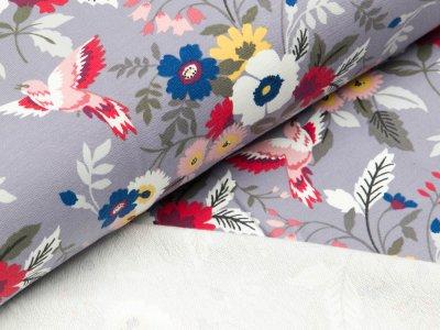 Sweat French Terry Little Darling - Blumensträuße und Vögel - helles lila