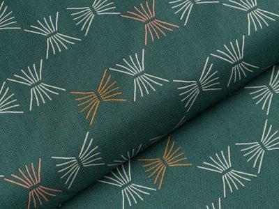 Gew. Baumwollstoff by Tillisy  - Streifenornamente - dunkles grün