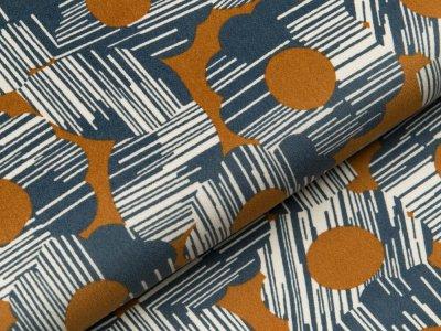 Velvet by Tillisy - verschiedene Ornamente - jeansblau/ocker