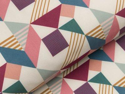 Jackenstoff Softshell by Tillisy - geometrische Dreiecke - bunt
