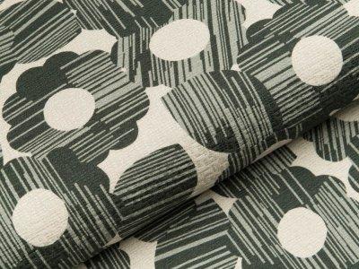 Jacquard Baumwollstoff by Tillisy  - Blumen - wollweiß/grün