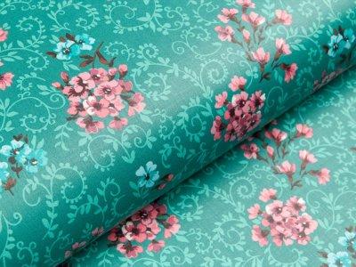 Beschichteter Baumwollstoff by Klaranähta - Blumen -  dunkles altmint