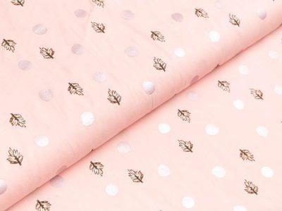 Gew. Baumwollstoff by Klaranähta mit Foliendruck - Punkte und Blätter - rosa