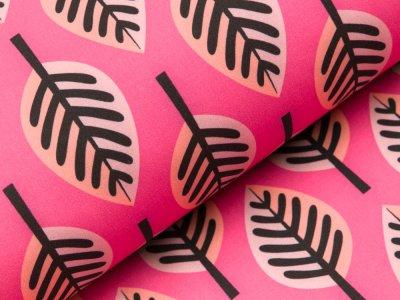 Jackenstoff Softshell by Hamburger Liebe PARK LANE - Blätter - pink