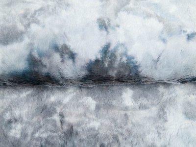 Zottel-Wellnessfleece Fur Tie-Dye - Batikoptik - grau