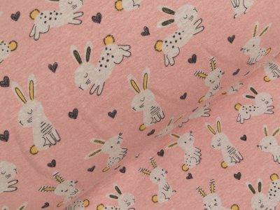 Alpenfleece - Hasen und Herzen - rosa