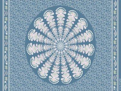 Viskose-Webware Swafing Beach Day by jolijou PANEL ca. 100 x 140 cm - Blumen und Ornamente - rauchblau