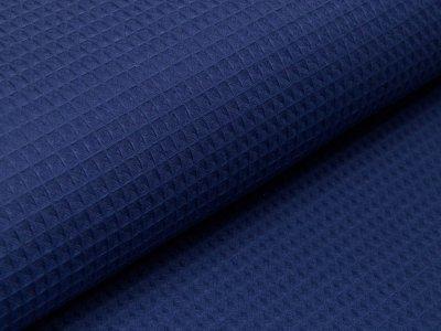 Waffelpiqué Baumwolle - Waffeloptik - jeansblau