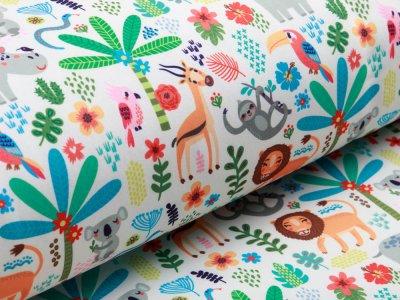 Softshell Jackenstoff Fräulein von Julie - verschiedene Dschungeltiere - weiß