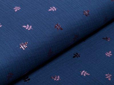 Musselin Baumwolle Double Gauze Bambino mit Foliendruck - Zweige - jeansblau