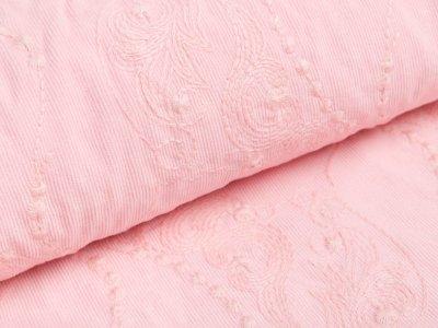 Feincord - gesticktes Blumenmuster - rosa