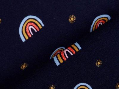 Angerauter Sweat Softtouch by Poppy - Regenbögen - dunkles blau