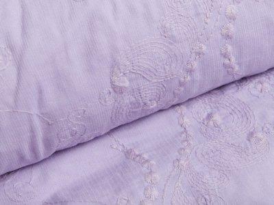 Feincord - gesticktes Blumenmuster - lavendel