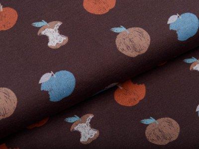 Sweat French Terry - Mini Forest - verschiedene Äpfel - dunkelbraun