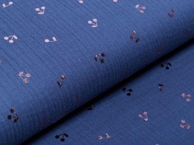 Musselin Baumwolle Double Gauze Bambino mit Foliendruck - Kirschen - jeansblau