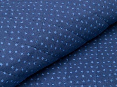 Musselin Double Gauze Rautenstepper - unregelmäßige Sterne - jeansblau