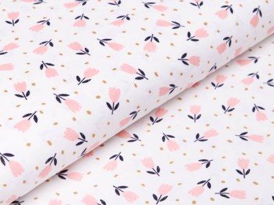 Feincord/Babycord - Tulpen - weiß